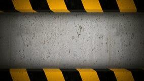 Concrete avskärmer med varnar band inramar Royaltyfria Bilder