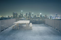 Concrete balcony night city view Stock Photography