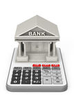Concrete Bank Building over Calculator. 3d Rendering Royalty Free Stock Photo