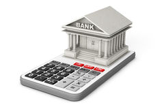 Concrete Bank Building over Calculator. 3d Rendering Stock Photography
