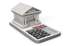 Concrete Bank Building over Calculator. 3d Rendering Royalty Free Stock Images