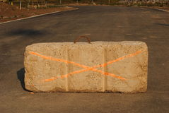 Concrete Barricade. Large slab of concrete used as a barrier at a construction site Royalty Free Stock Photography