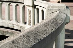 Urban concrete work with oval carvings architectural detail royalty free stock photo