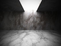 Concrete basement empty room with light. Architecture grunge bac. Kground. 3d render illustration Royalty Free Stock Images