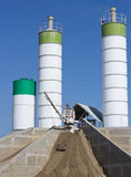 Concrete batching plant. Against blue sky. Construction industry royalty free stock images