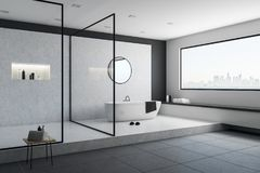 Concrete bathroom interior. With city view, bathtub and other objects. 3D Rendering vector illustration