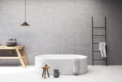 Concrete bathroom, round tub. Concrete bathroom interior with a white floor, a round tub, a gray round sink, a ladder and a jug. 3d rendering mock up royalty free illustration
