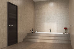Concrete bathroom, stairs and a tub side Stock Photo