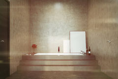 Concrete bathroom, stairs and a tub toned Royalty Free Stock Photo