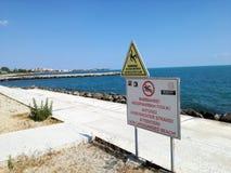 Concrete beach on the Black Sea coast, Pomorie, Bulgaria. Stock Images
