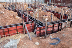 Concrete beam mold for house construction. At construction site Royalty Free Stock Photos
