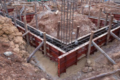 Concrete beam mold for house construction. At construction site Royalty Free Stock Photo