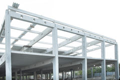 Concrete beams joint and steel construction Royalty Free Stock Photos