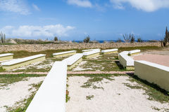 Concrete Benches at Outdoor Church. In Aruba royalty free stock images
