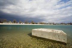 Concrete block. In the lake Stock Photo