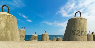 Concrete block breakwater and baltic sea Royalty Free Stock Photography