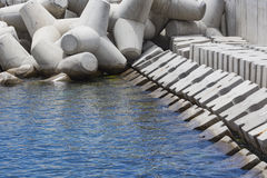 Concrete block breakwater hit by the atlantic waves Royalty Free Stock Photography