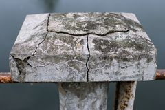 Concrete block with deep cracks Stock Images
