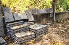 Concrete block pile wait for build asian architect style. royalty free stock photos