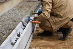 Concrete block work. Housing construction / Concrete block work stock photo