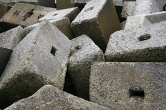 Concrete blocks. Blocks of concrete randonly arranged at a Churchill Barrier in Orkney stock image