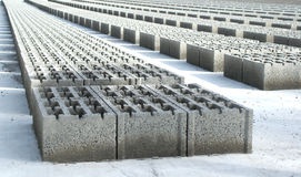 Concrete blocks. Drying after being fabricated Royalty Free Stock Images