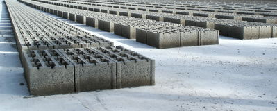 Concrete blocks. Drying after being fabricated Royalty Free Stock Photos
