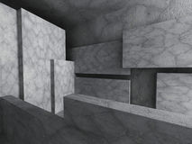 Concrete blocks architecture background. Empty dark room. 3d render illustration Royalty Free Stock Photography