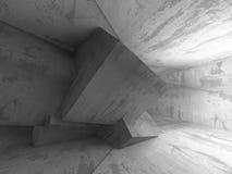 Concrete blocks architecture background. Empty dark room. 3d render illustration Royalty Free Stock Image