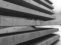 Concrete blocks architecture background. Empty dark room. 3d render illustration Royalty Free Stock Photos