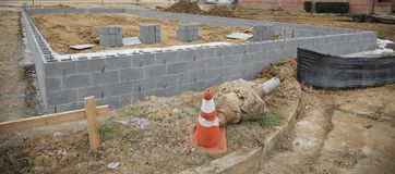 Concrete Blocks for a Commercial building Stock Image