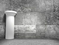 Concrete blocks empty room with antique column Stock Photos