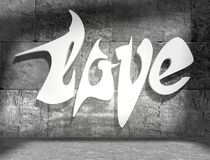 Concrete blocks empty room with love text Stock Images