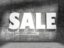 Concrete blocks empty room with sale text Stock Photo