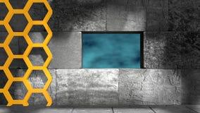 Concrete blocks and honeycomb Royalty Free Stock Photo