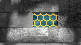 Concrete blocks and honeycomb Royalty Free Stock Photography