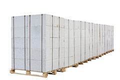 Concrete blocks on the pallet. Stock Photo