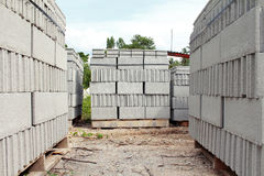 Concrete blocks. Pallets of concrete blocks on site Stock Photography