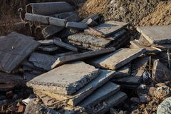 Concrete blocks and piles Stock Images