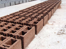 Concrete Blocks - Red Orange - Perspective Royalty Free Stock Photography
