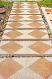 Concrete blocks tiles walkway. Royalty Free Stock Photos