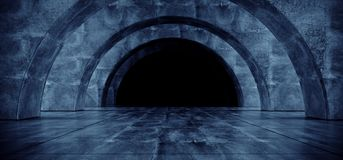 Concrete Blue Glow Corridor Spaceship Glowing Futuristic Sci Fi White Laser Stage Empty Tunnel Reflective Grunge Oval Arc Alien 3D. Rendering  Illustration royalty free illustration