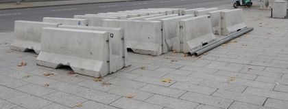 Concrete bollard on the Breitscheidplatz in Charlottenburg, Berlin Royalty Free Stock Image