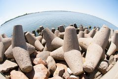Concrete breakwater of Baltic sea channel Stock Photography