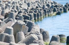 Concrete breakwater of Baltic sea channel Royalty Free Stock Photos