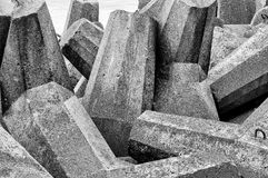 Concrete breakwater. In black and white Stock Image
