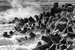 Concrete breakwater. In black and white Royalty Free Stock Photos