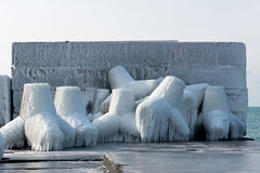 Free Concrete Breakwater With Snow And Ice At Black Sea Cost Stock Photo - 84564150