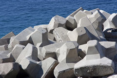 Concrete breakwaters. In Adriatic sea Royalty Free Stock Photo