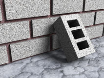 Concrete brick construction block with wall. 3d render illustration Stock Image